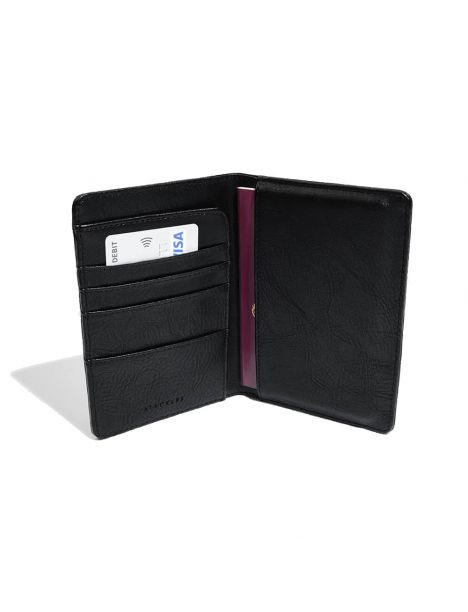 Portefeuille passeport, noir Stackers UK Portefeuille Cuir
