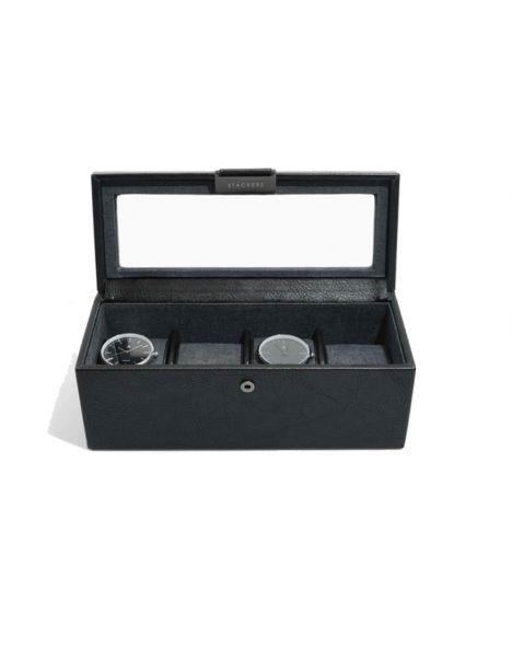 Ecrin rangement 4 montres, vitré noir Stackers UK Ecrins