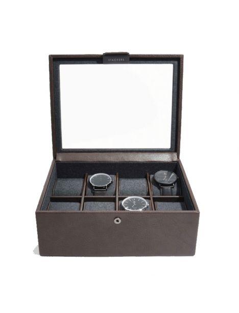 Ecrin rangement 8 montres, vitré marron Stackers UK Ecrins