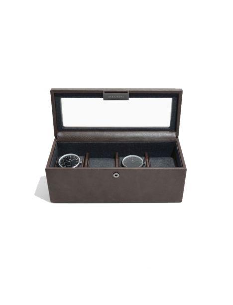 Ecrin rangement 4 montres, vitré marron Stackers UK Ecrins