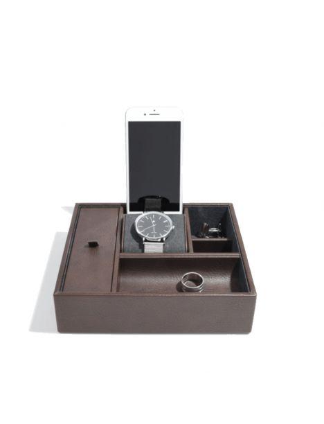 Ecrin de rangement montre et téléphone de bureau, Marron Stackers UK Etuis Tablettes