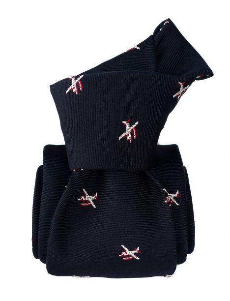 Cravate en soie, Hydravion Marine et rouge Segni et Disegni Cravates