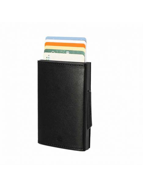 Porte carte Aluminium et cuir,Cascade Wallet, Ogon Designs, Full black