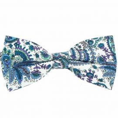 Noeud Papillon, coton, fleurs bleu blanc