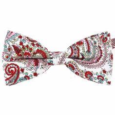 Noeud Papillon, coton, fleurs rouge