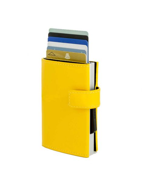 Porte carte Aluminium et cuir glossy citrus, Cascade Wallet Snap