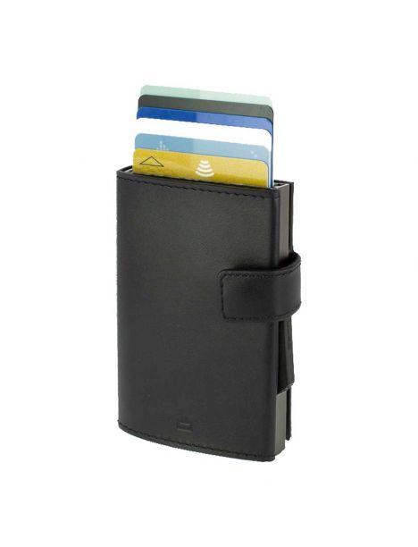 Porte carte Aluminium et cuir noir alu titanium, Cascade Wallet Snap