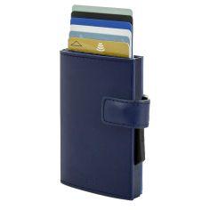 Porte carte Aluminium et cuir Bleu marine, Cascade Wallet Snap