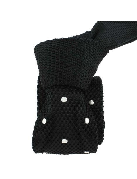 Cravate Tricot. Noir Preppy