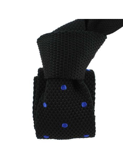 Cravate Tricot. Noir et bleu Preppy