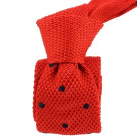 Cravate Tricot. Rouge Preppy