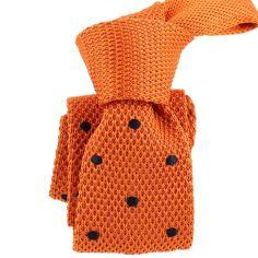 Cravate Tricot. Orange Preppy