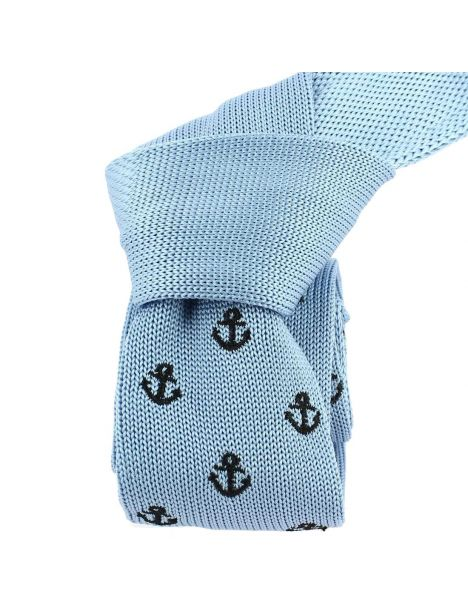 Cravate Tricot. Ancre bleu