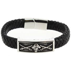 Bracelet Cuir tête de mort pirate