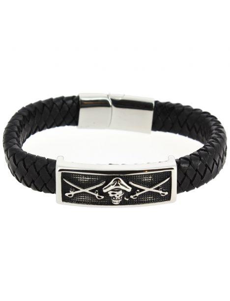 Bracelet Cuir tête de mort pirate Clj Charles Le Jeune Bracelets Homme