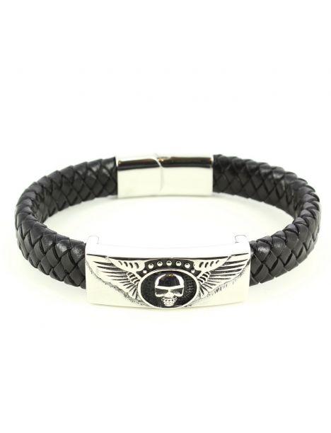 Bracelet Cuir tête de mort ailes