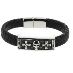 Bracelet Cuir tête de mort croix