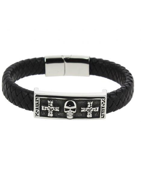 Bracelet Cuir tête de mort croix Clj Charles Le Jeune Bracelets Homme