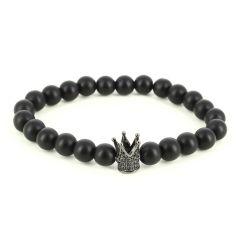 Bracelet Perles Couronne Noir mate