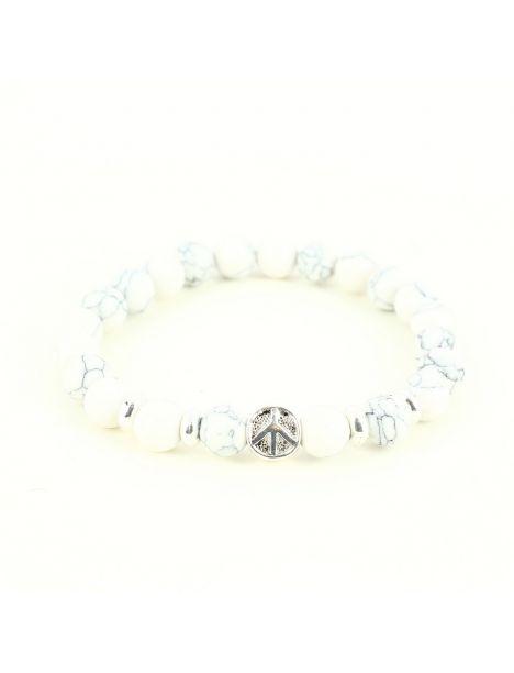 Bracelet Perles peace and love Marbré