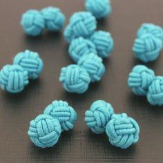 Bouton de manchette passementerie CLJ, TAHITI, bleu turquoise
