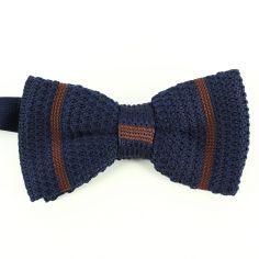 Noeud papillon tricot gentleman navy club marron