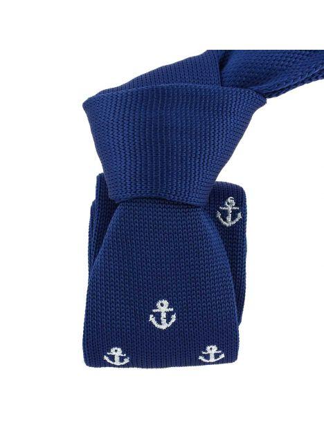 Cravate Tricot. Ancre marine