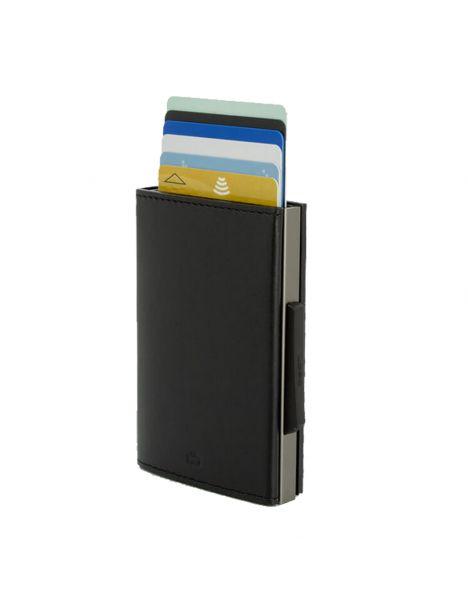 Porte carte Aluminium et cuir noir alu titanium, Cascade Wallet, Ogon Designs