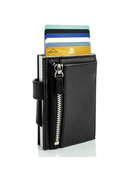 Porte carte Cascade Zipper Wallet Snap. Aluminium et cuir noir alu argenté
