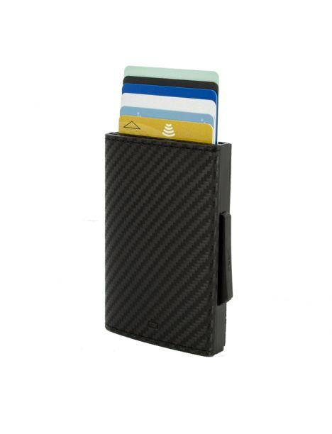 Porte carte Aluminium et cuir carbon alu noir, Cascade Wallet, Ogon Designs