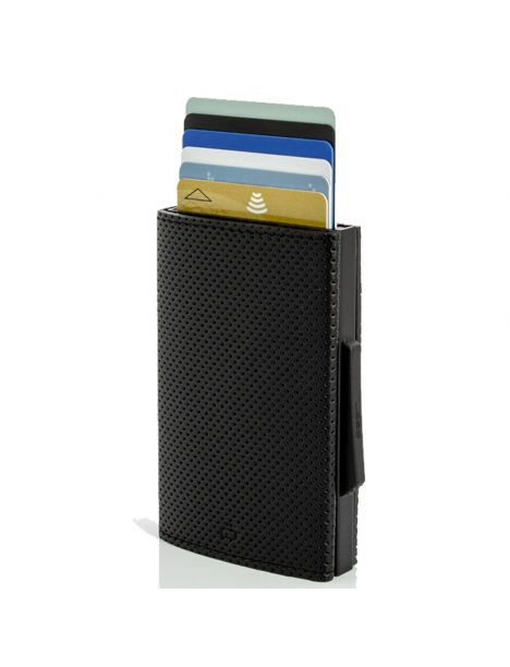Porte carte Aluminium et simili cuir, Traforato noir, Cascade Wallet