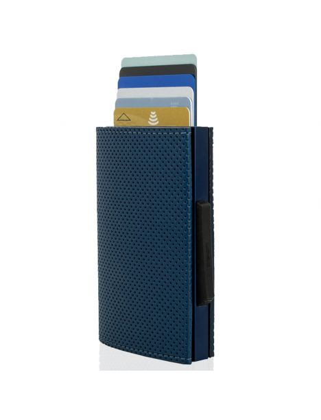 Porte carte Aluminium et simili cuir, Traforato bleu, Cascade Wallet