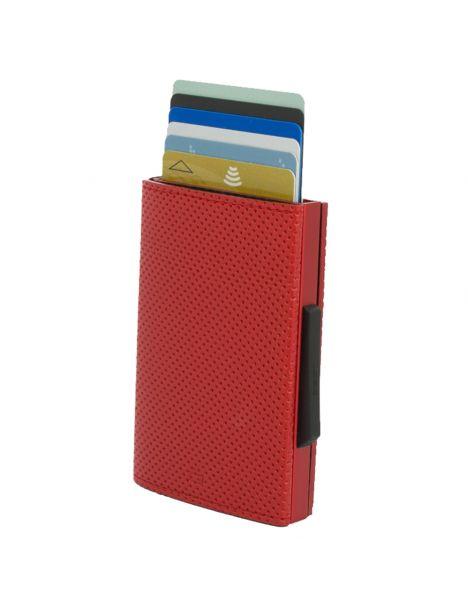 Porte carte Aluminium et simili cuir, Traforato rouge, Cascade Wallet