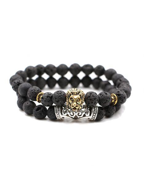 Bracelet Perles Lion Pierre de lave