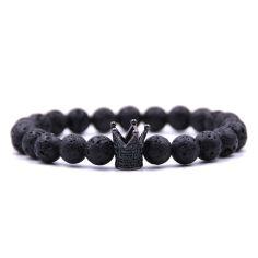 Bracelet Perles couronne noir Lave