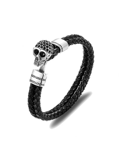 Bracelet Cuir têtes de mort yeux noir