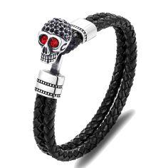 Bracelet Cuir têtes de mort yeux rouge