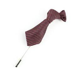 Boutonnière, mini cravate stripe lie de vin