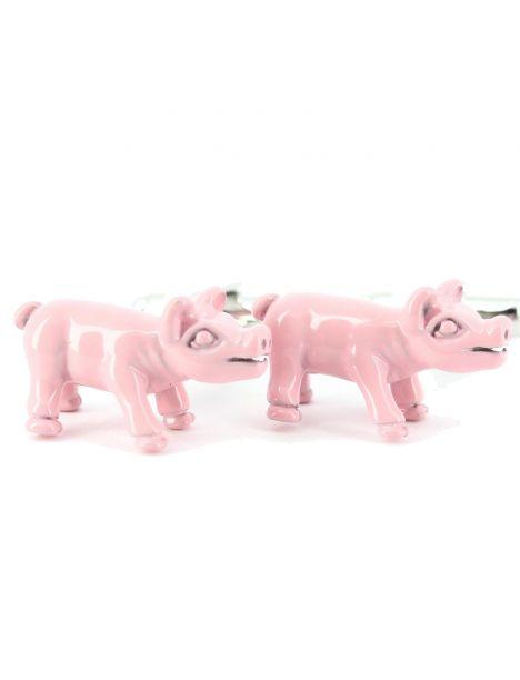 Boutons de manchette cochon rose