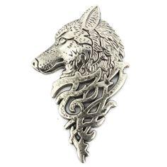 Boutonnière loup de sibérie argenté