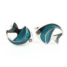 Boutons de manchette poissons bleu