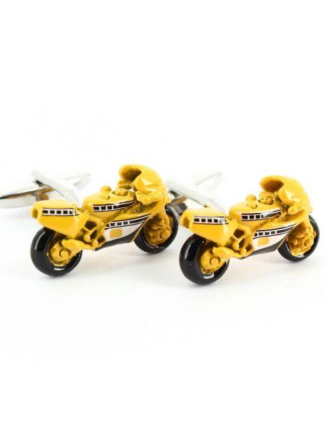 Boutons de manchette moto jaune Tony & Paul Bouton de manchette