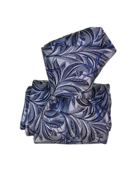 Cravate Classique Segni Disegni pure soie, Feuilles Marine