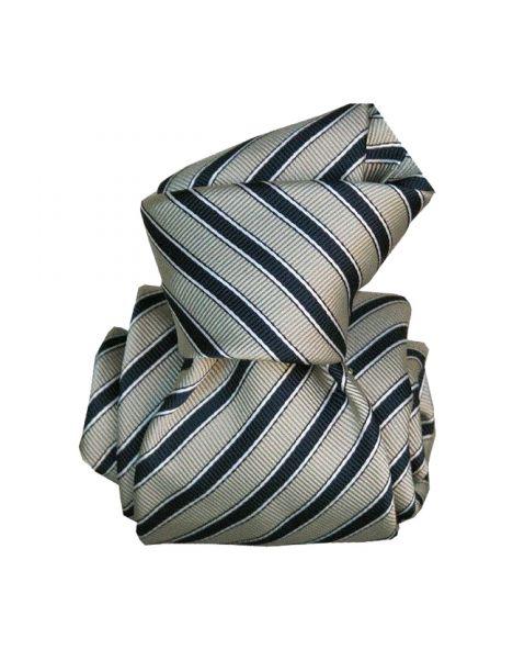 Cravate Segni Disegni LUXE MOGADOR, Faite main. Rayée marine et gris Segni et Disegni Cravates
