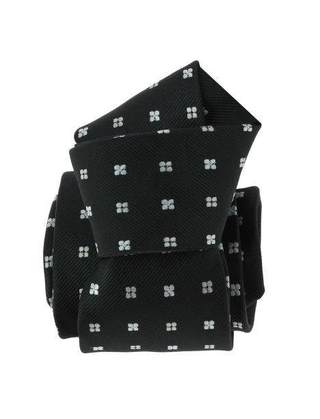 Cravate CLJ, noir, motifs fleurs Clj Charles Le Jeune Cravates