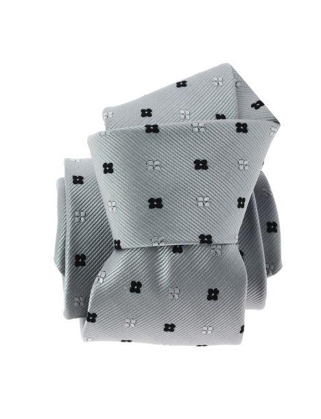 Cravate CLJ, gris, motifs fleurs Clj Charles Le Jeune Cravates
