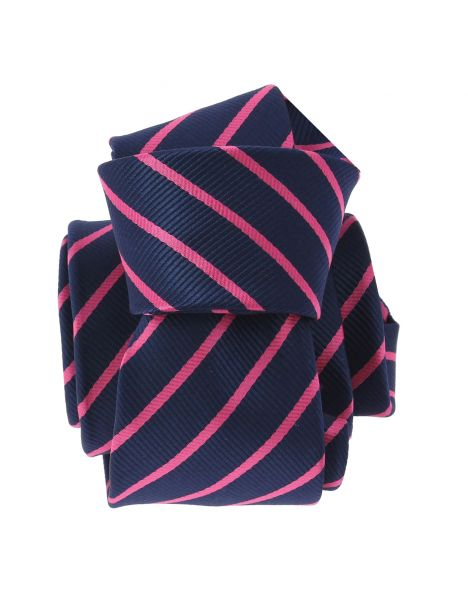 Cravate CLJ, XV navy et rose Clj Charles Le Jeune Cravates