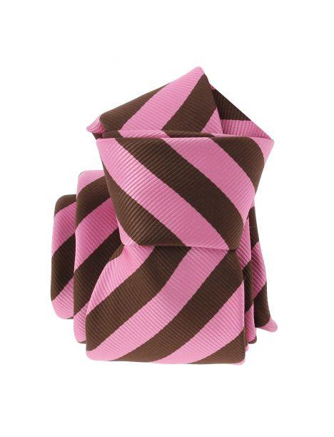Cravate CLJ, Rugby large marron et rose Clj Charles Le Jeune Cravates