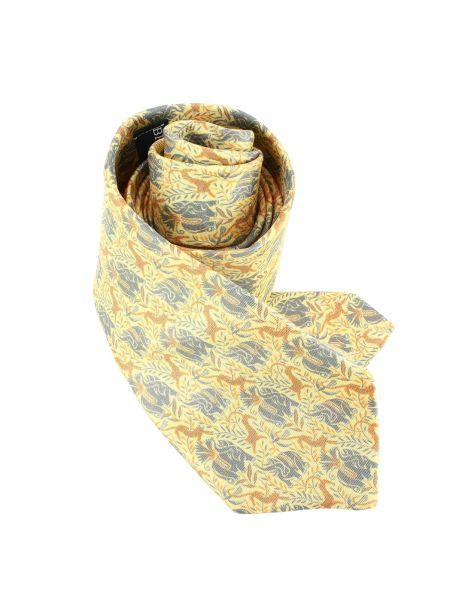Cravate en soie, Dufy Eléphants, orange Brochier Soieries 1890 Cravates