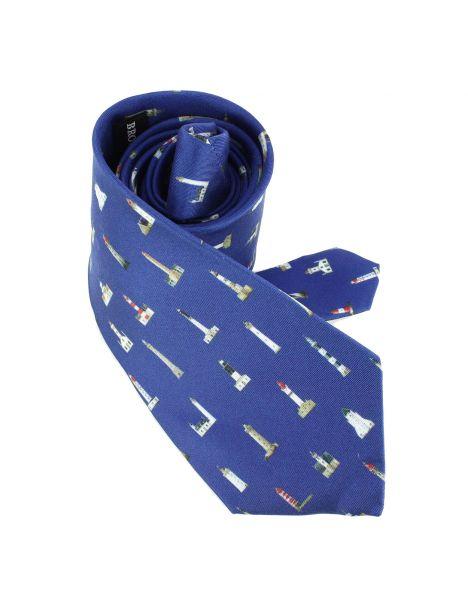 Cravate en soie, Héron Les phares Bretons Brochier Soieries 1890 Cravates